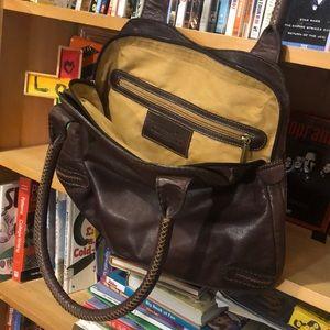 BUSSOLA-women's brown leather shoulder bag purse